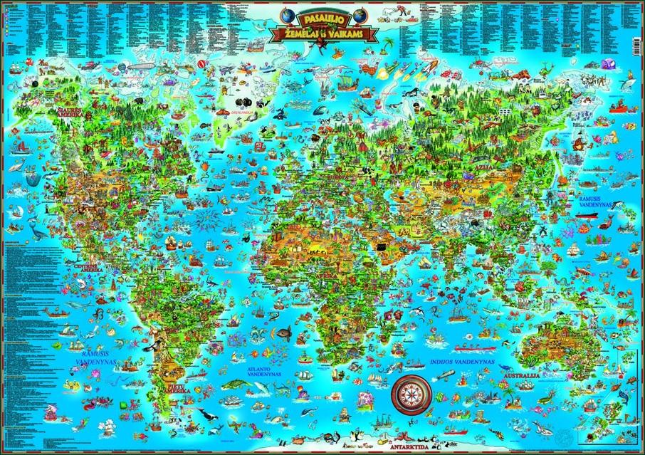 Sieninis pasaulio žemėlapis vaikams