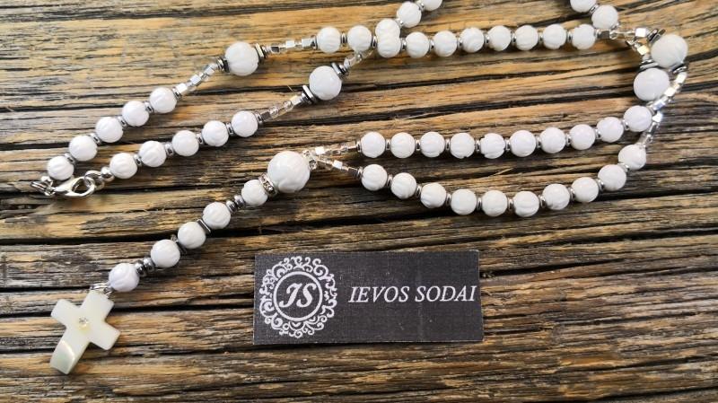 Baltas rožančius iš natūralios kriauklės